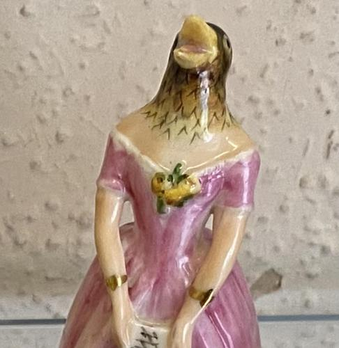 Rare Royal Worcester Porcelain CANDLE-SNUFFER – 'Jenny Lind' (Confidence) in pink, 1923 (1 of 3)