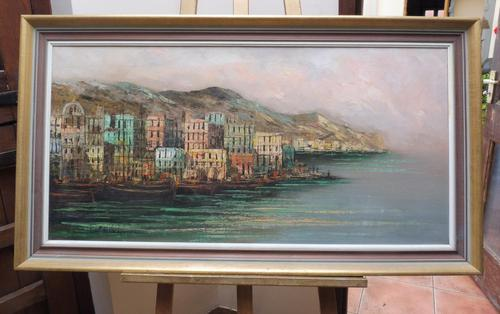 Large Oil on Canvas Italian Rivera Signed 1960s (1 of 10)