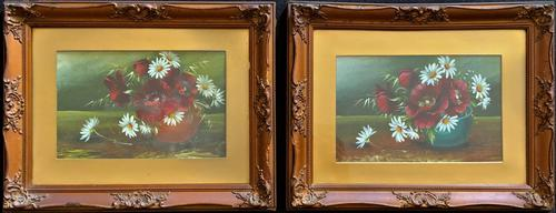 Attractive Matching Pair of 19th Century Oil Paintings Floral Still Life Study (1 of 8)