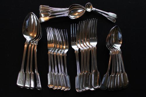 A Harlequin Set of George IV and Later Silver Fiddle Pattern Flatware (1 of 7)