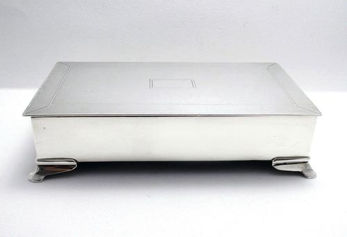 Good Quality Antique 1914 Solid Sterling Silver English Cigarette Cigar Trinket Jewelry Casket Case Box (1 of 9)