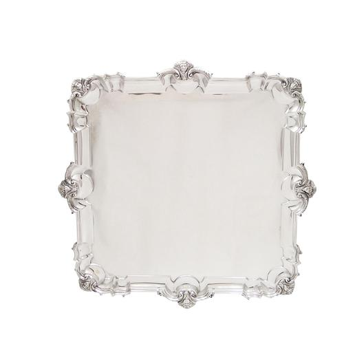"""Antique Edwardian Sterling Silver 13 1/2"""" Square Salver / Tray - Mappin & Webb 1907 (1 of 9)"""