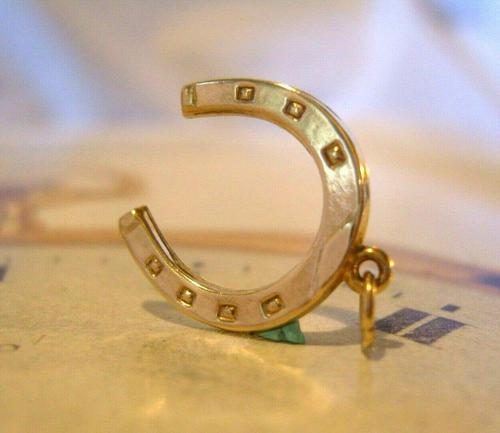 Vintage Pocket Watch Chain Horseshoe Fob 1979 Equestrian Large Fob (1 of 10)