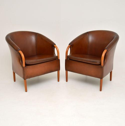 Pair of Danish Vintage Leather Armchairs by Mogens Hansen (1 of 11)