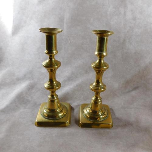 Pair of 19th Century Brass Square Based Candlesticks (1 of 3)