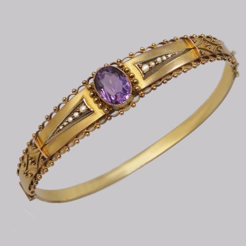 Antique Amethyst & Pearl Bangle. Etruscan Revival 9ct Gold Bracelet Chester 1913 (1 of 11)