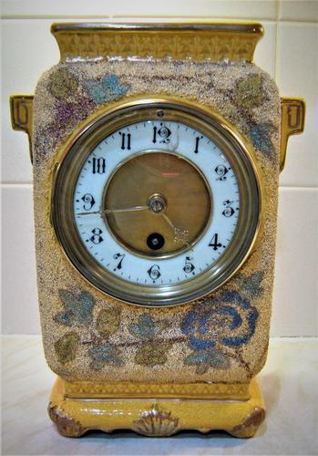 Delightful & Unusual 1900 French Pottery Mantle Timepiece (1 of 5)
