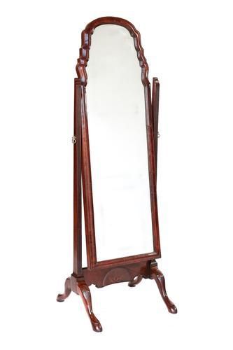 Antique Walnut Queen Anne Revival Cheval Mirror c.1920 (1 of 4)