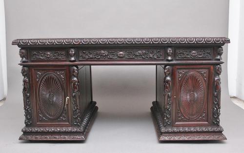 19th Century Chinese Hongmu Pedestal Desk (1 of 19)