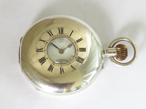 Antique Silver English Half Hunter Pocket Watch (1 of 5)