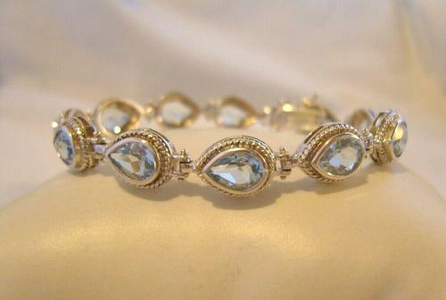 "Vintage Silver & Aquamarine Bracelet 1970s 71/4"" Length 16.6 Grams (1 of 12)"