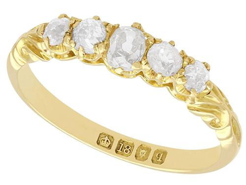 0.66ct Diamond & 18ct Yellow Gold Five Stone Ring - Antique 1911 (1 of 9)