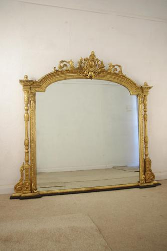 Victorian Gilt Large Overmantle Mirror (1 of 10)