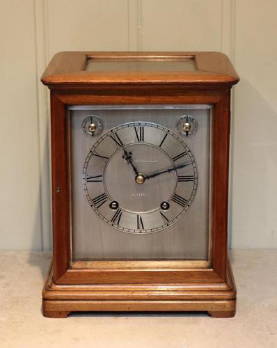 Mahogany Four Glass Ting Tang Mantel Clock (1 of 9)