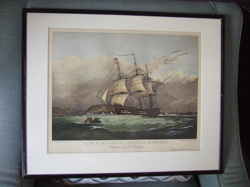 Engraving of HMS Malabar Leaving Harbour by G Garnier, After N Condy Jnr (1 of 5)