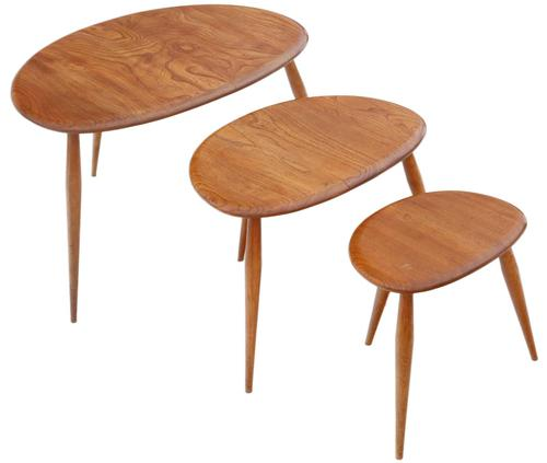 Ercol Nest of 3 Tables Great Design Shape c.1970 (1 of 6)