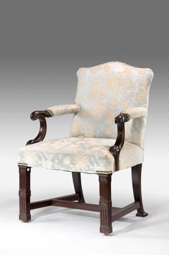 Chippendale Design Mahogany Framed Library Chair (1 of 4)