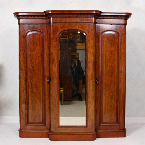 Triple Breakfront Wardrobe Mirrored Mahogany 19th Century (1 of 13)