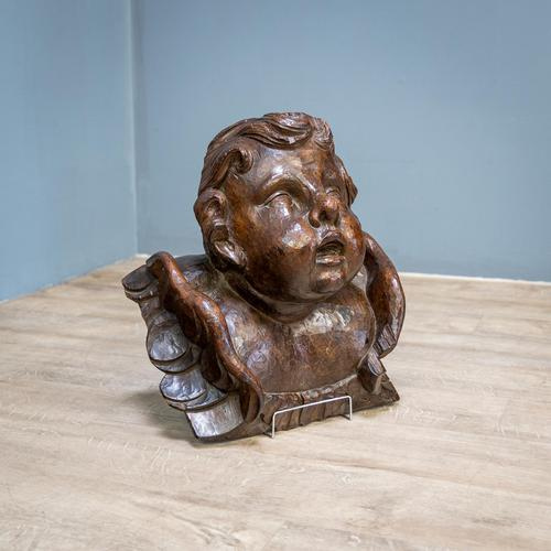 Large Walnut Head of Putto (1 of 8)