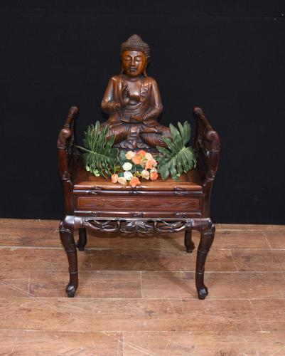 Antique Chinese Stool Hand Carved Piano Circa 1880 (1 of 10)