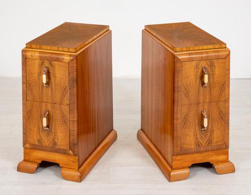 Superb Pair of Walnut Art Deco Bedside Cabinets (1 of 6)