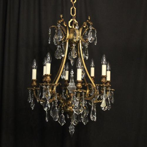 Italian Gilded Bronze & Crystal 8 Light Chandelier (1 of 10)