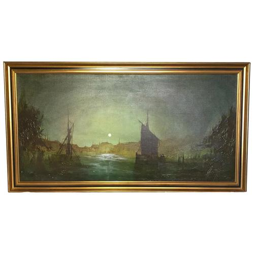 "Dutch Impressionist Oil Painting ""Amsterdam Shipping by Moonlight Illumination"" (1 of 12)"