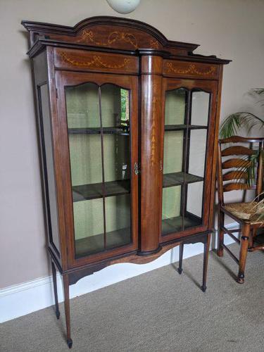 Edwardian Inlaid Display Cabinet (1 of 6)