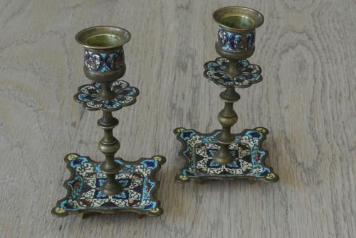 Good Pair of 19th Century French Enamel Champlevé Brass Candlesticks (1 of 6)