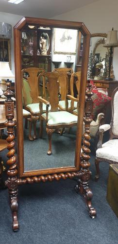 Victorian Walnut Cheval Dressing Mirror (1 of 5)