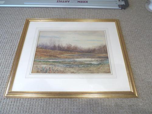 Fine Large  19th Century English School Watercolour - Wooded Marshland Scene. (1 of 5)