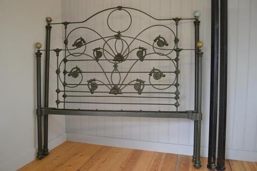 Antique Victorian Brass & Iron King Size 5ft Bedstead (1 of 14)