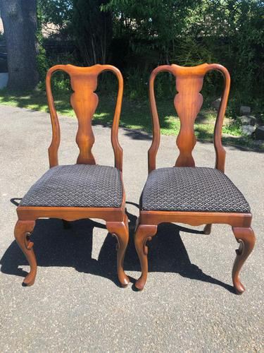 Pair of Antique Queen Anne Style Walnut Side Chairs c.1910 (1 of 7)