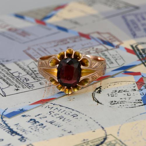 The Antique Edwardian 1904 Rose Gold Garnet Ring (1 of 6)