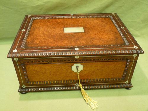 QUALITY Inlaid Rosewood & Amboyna Jewellery – Work Box. c1840 (1 of 16)