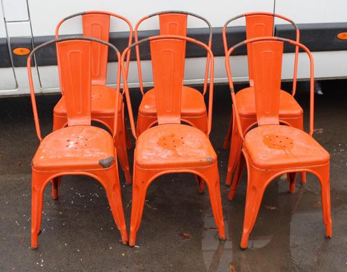 1960's Retro Set 6 Orange Metal Chairs (1 of 3)