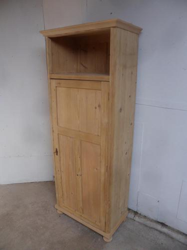 Open Tall Antique Pine 1 Door Linen / Kitchen Storage Cupboard to wax / paint (1 of 8)