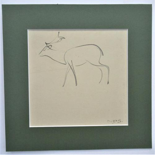 Norman Dudley Short 'British', Stag, original pen & ink drawing c1930, mounted (1 of 4)