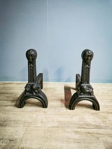 Pair of Tudor Cast Iron Fire Dogs (1 of 5)