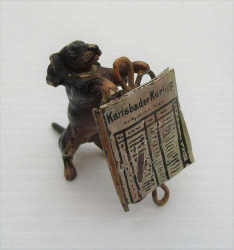 Austrian Cold Painted Bronze, Dachshund with Newspaper, early C20th (1 of 7)