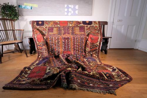 Large Mid 20th Century Colourful Flat Weave Woolen Rug (1 of 15)