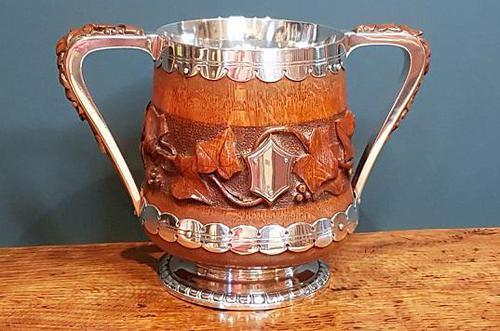 Large Antique Oak Carved Silvered Loving Cup (1 of 8)