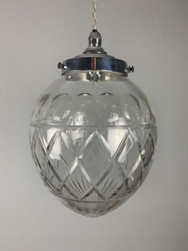 Art Deco Glass Pendant Ceiling Light, Original Shade, Rewired (1 of 5)