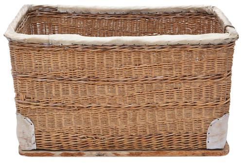 Vintage large strong cane and pig skin log or storage basket (1 of 8)