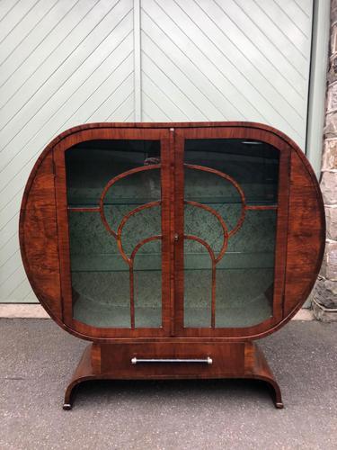 Art Deco Walnut Display Cabinet (1 of 13)