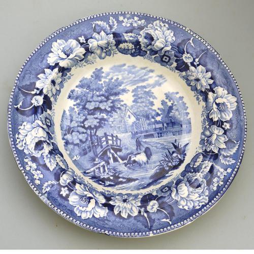 Dillwyn & Co Swansea -Pottery Plate in Blue & White Transferware c.1820 (1 of 5)