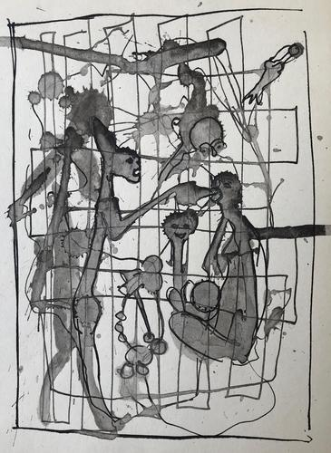 Original Pen an Wash Drawing 'grotesque Family Group'. British or Possibly Continental  School c.1950 (1 of 1)