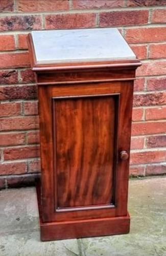Victorian Mahogany Bedside Cupboard With Marble Top (1 of 8)