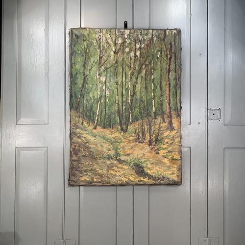 Antique German Impressionist Landscape Oil Painting of Woodland Signed Keiker (1 of 10)