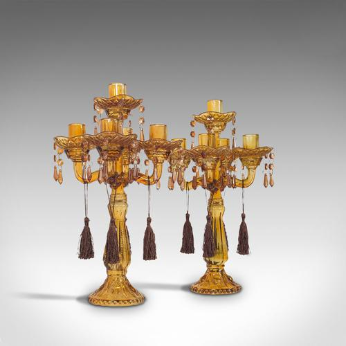Pair of Antique Candelabra, English, Glass, Candle Stand, Victorian c.1890 (1 of 12)